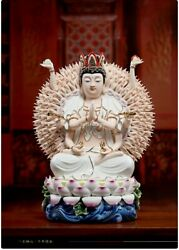 18and039and039 China White Porcelain Glaze Colours Buddhism Thousands Hands Bodhisattva