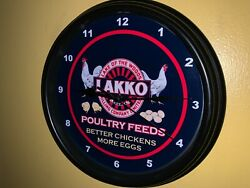 Lakko Poultry Chicken Feed Farm Barn Store Man Cave Advertising Clock Sign