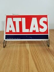 Vintage Atlas Tire Sign Rack Display Stand Set Gas Oil Auto Store Advertising