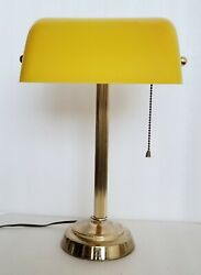 Vintage Bankers Desk Piano Lamp Brass Yellow Olive Green Celluloid Shade Tested