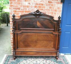 French Antique Carved Henry Ii Small Double Size Bed