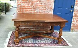 French Antique Carved Oak Brittany Draw Leaf Dining Table Only Table