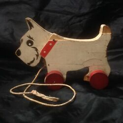 Vintage Chad Valley Wooden Toy Pull Along Dog Westie On Wheels, Nodding Head
