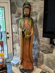 Very Large Wooden Medicine Buddha Statue 5 Ft Tall Over 100 Pounds Super Unique