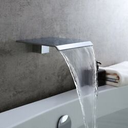 Contemporary Waterfall Bathroom Spout Wall Mounted Bathtub Faucets In Chrome