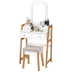 Mirror Dressing Table Set Makeup Vanity Table Andcushioned Stool W/3 Drawers White