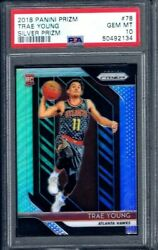 Trae Young 2018 Panini Prizm Silver Prizms Rc Psa 10 Basketball Rookie Card