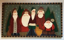 Santas Primitive Sign Country Painting Wall Decor Art Wood Handcrafted 12 X 22