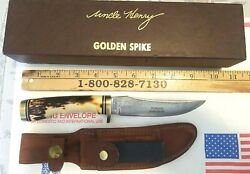 Vintage Schrade Usa 153uh Golden Spike Uncle Henry Fixed Blade Knife New In Box