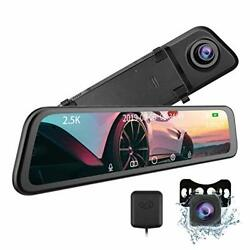 T12 Mirror Dash Cam - Carchet 2.5k Mirror Dash Cam For Cars With 12andrdquo Ips Full To