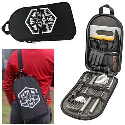 Portable Camping Kit Camp Kitchen Utensil Set Cookware Grill Tool 13 Pc Grilling