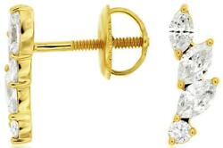 Estate .62ct Diamond 14k Yellow Gold Round And Marquise Screwback Hanging Earrings