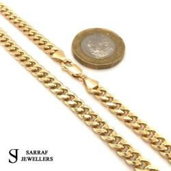 Cuban Chain 375 9ct Yellow Gold Genuine Menand039s Necklace 18-20-22-24-26-28-30 5mm