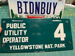Yellowstone Park License Plate Hunting Fishing Gas Oil Porcelain Metal Sign