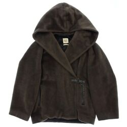 Hermes Leather Trimmings Alpaca Wool Pooh Coat Embroidery 40 Tea Women And039s _59155