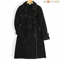 Hermes Wool Razor Piping Trench Coat Jacket With Belt 36 _59220