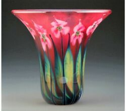 Exceptional Work Of Art John Lotton Glass Magnum Ruby Multi Floral Vase