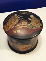 Antique Japanese Lacquer Gold Makie Box Meiji Period
