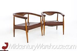 Mid Century Barrel Back Leather Lounge Chairs - A Pair - Vintage Mcm