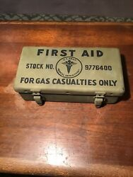 Vtg Wwii U.s Army Medical Dept. First Aid Kit For Gas Casualties Only - For Jeep