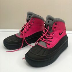 Nike Girls Pink Black 524876-600 Acg Lace Up Woodside Duck Boots Size Us 5.5y