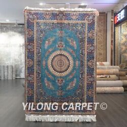 Yilong 4and039x6and039 Handmade Silk Carpet Blue Classic Luxury Indoor Area Rug Z542a