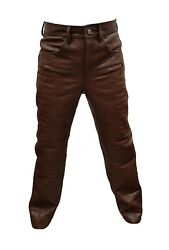 Mens Brown Leather Crocodile Print Quilted Design Motorcycle Pants Bikers Jeans