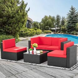 5 Piece Rattan Patio Set Flexible Combinations Easy Clean Sponged Seat Cushions