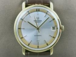 Rare Authentic Universal Genandegraveve Vintage 18k Gold Microrotor Auto Menand039s Watch