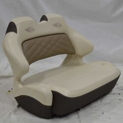 Chaparral Boat Double Wide Helm Bolster Seat Off White Brown - Tears