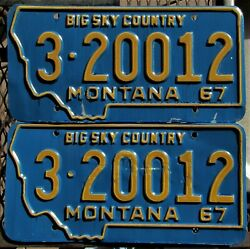 1967 Mt Yellowstone County 3 - Billings Colorful License Plate Pair 3-20012
