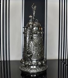 Wmf Magnificent Silver Plated Tankard Centerpiece Circa1880s Signed40cm High