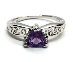 Sterling Silver Ring 925 Size 5.5 Amethyst Scroll Band