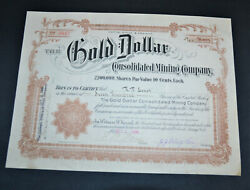 The Gold Dollar Consolidated Mining Company 1906 Antique Stock Certificate Cripp