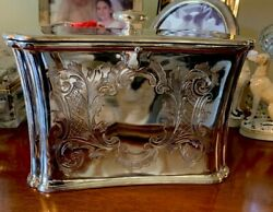 Antique English Silver Plate Biscuit Box Tea Caddy