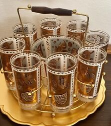 Vtg Cera Cocktail Glasses Gold Leaves Round Caddy Ice Bucket Midcentury Barware