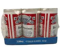 Libbey Glass 6 Cooler Glasses 16 Oz Budweiser Beer Red White New In Sealed Box