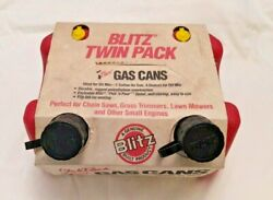 Vintage New Old Stock Blitz Twin Club Pack Gas Cans 1 Gal 4 Oz. W/ Spout And Vent
