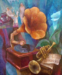 Gramophone , Original,oil Painting,signed By Artist