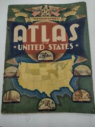 Vintage Geographia Atlas Of The United States 1936 With 32 Pgs. Of Colored Maps