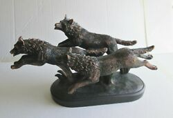 Bronze Replica Statue, I Was Told It Is Titled Grey Wolves On The Run