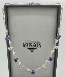 Authentic Musson Glamorous Amethyst 18k White Gold Necklace W/ Box And Valuation