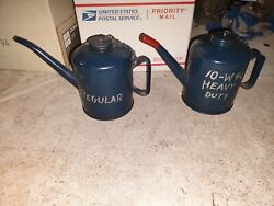 Two Vintage Made In The Usa Eagle Oil Cans