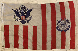 Vintage Well Used Uscg Ensign 1960and039s Size 40 X 28 Flag Semper Paratus