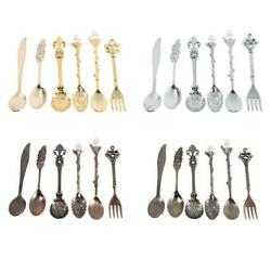 6pcs/set Retro Royal Style Metal Mini Coffee Spoons And Fork Kitchen Home Use