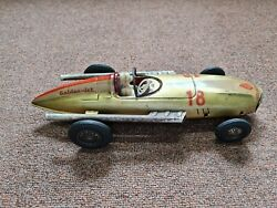 Vintage Rare Antique Old Collectible Tin Toy Racer Car Friction Japan