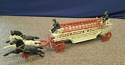 28 Cast Iron Fireman Fire Hook And Ladder Wagon Three Horse Drawn Antique Toy