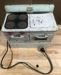 Vintage Little Lady Electric Metal Stove - Oven - Untested For Parts Or Repair
