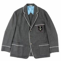 Cashmere Tailored Jacket Blazer Mens Charcoal Gray 54 17 Make Lesson _2056