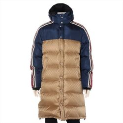 Gg Jaccard 20aw Nylon Down Jacket 44 Mens Beige Navy _2063